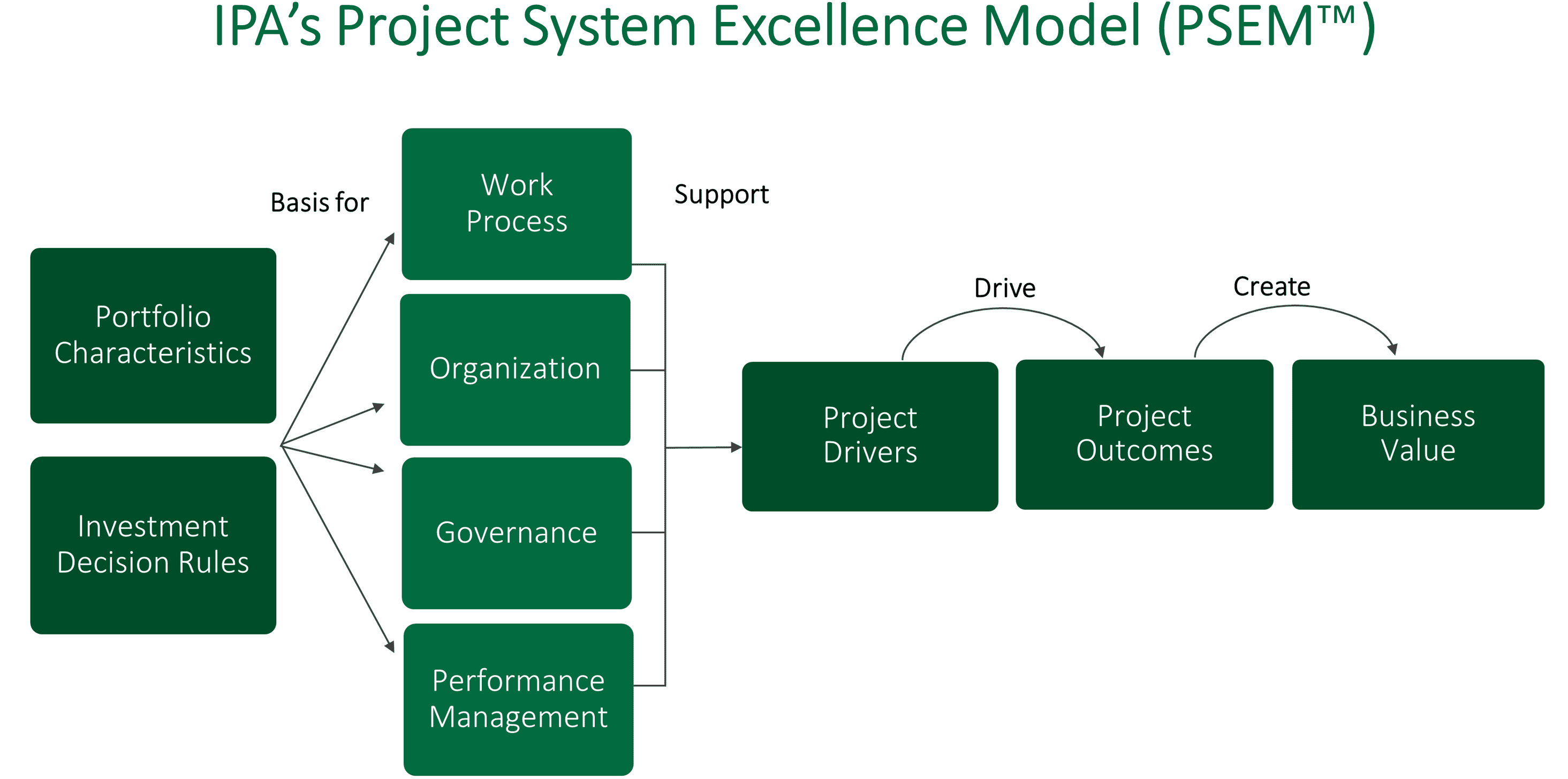 Graphic illustration of IPA's Project System Excellence Model (PSEM).