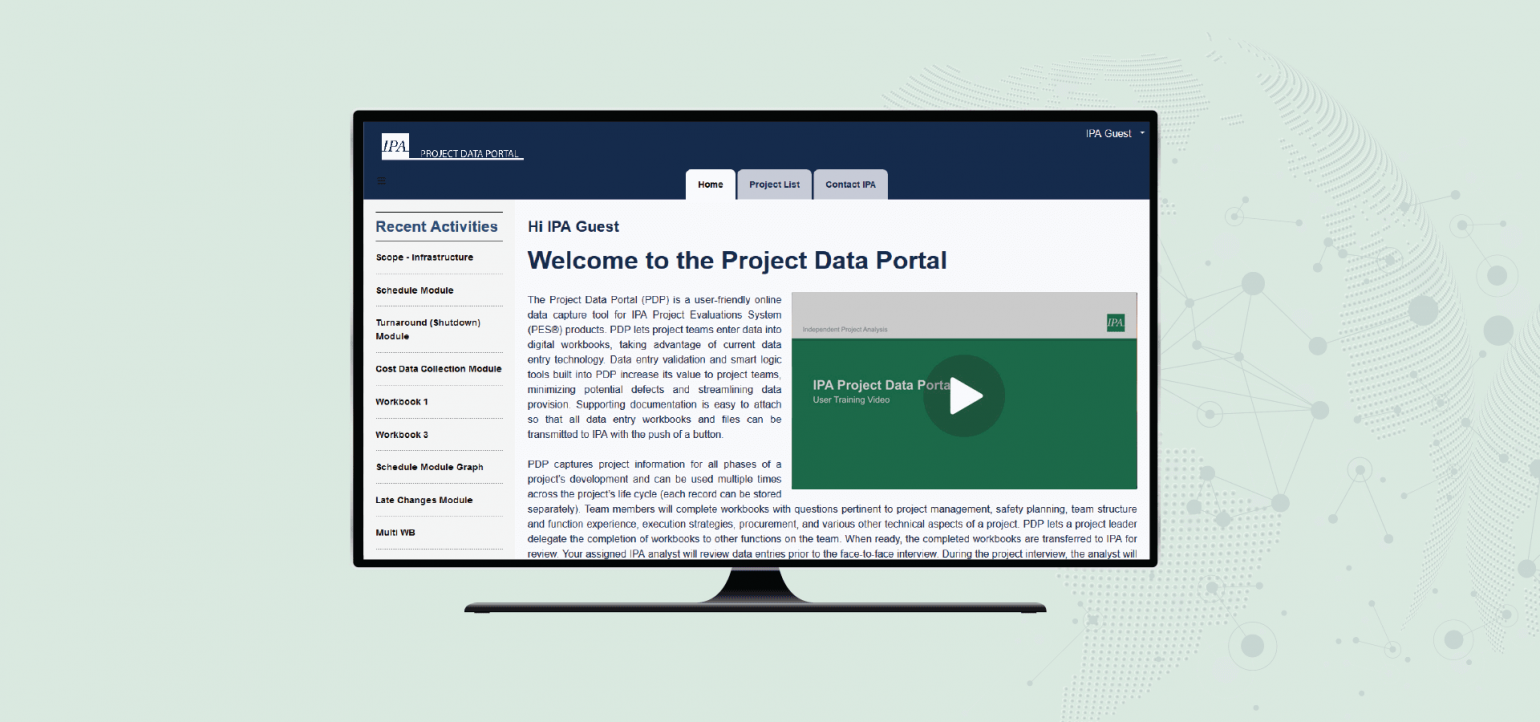 Image of IPA's new Project Data Portal (for illustrative purposes only).