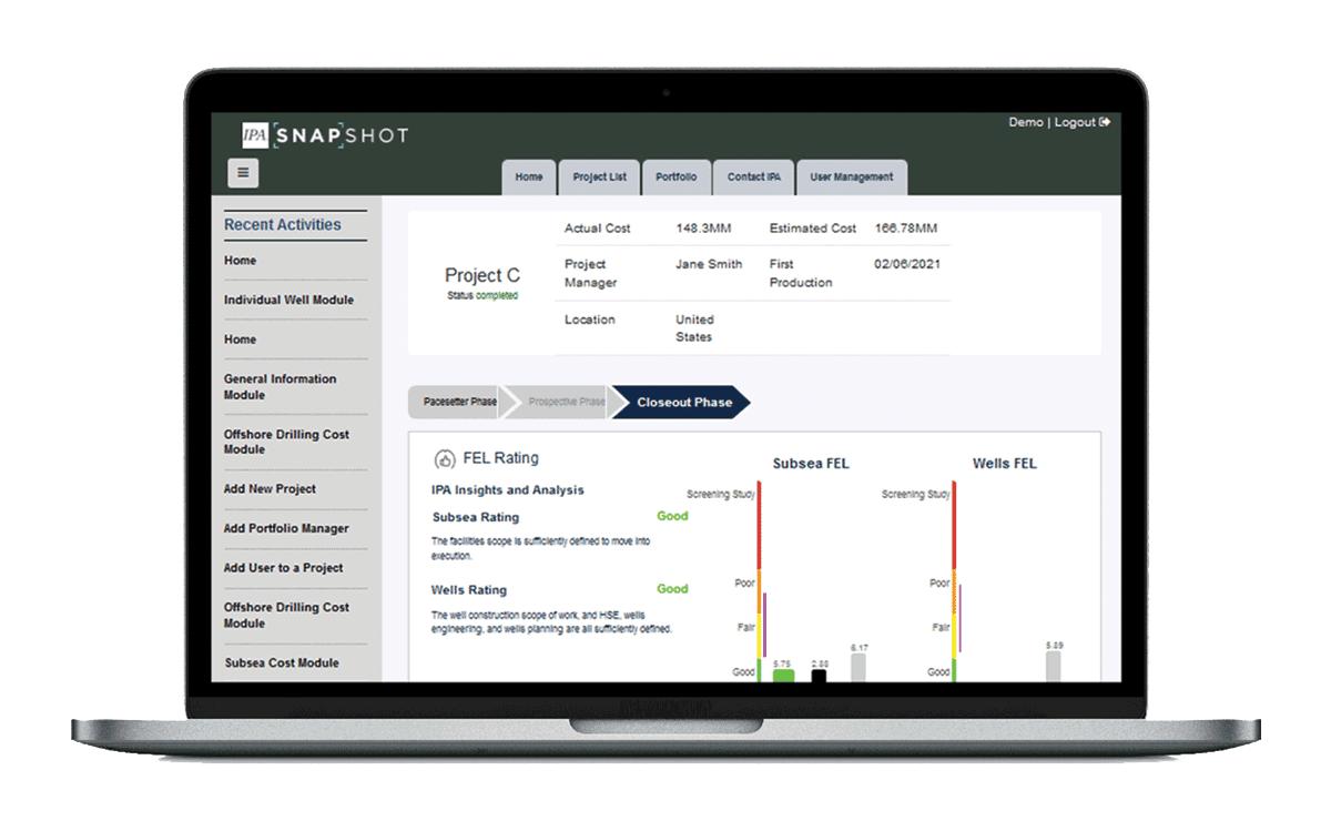 Screenshot of IPA: Subsea Tieback evaluation software.